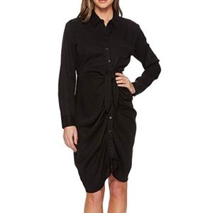 Catherine MaLandrino Black Shirred Shirt Dress